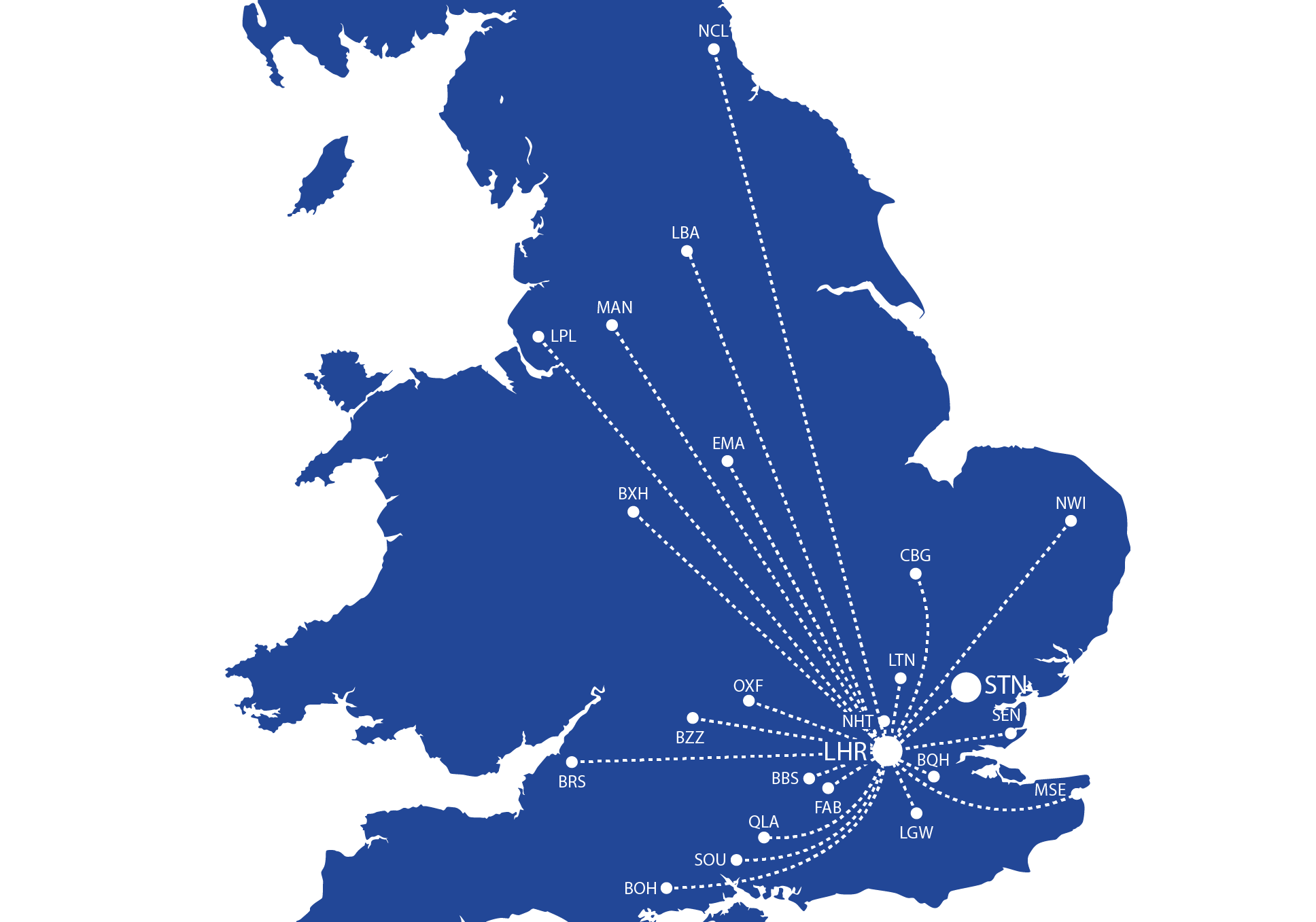 Royalblue Delivery Map - 24 airports nationwide